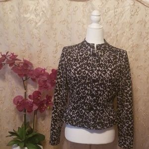 ECI New York Cheetah Pattern Metalic Coat Size 4